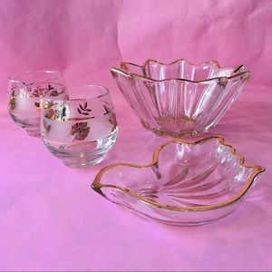 Antique crystal vases with gold trim